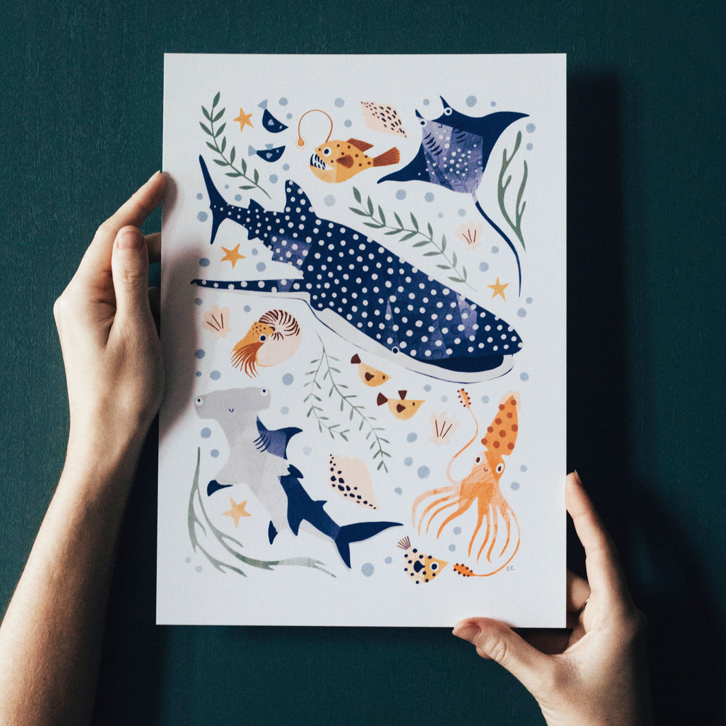 'Deep Blue Sea' Whale Shark, Hammerhead And Sea Creatures Fine Art Print For Children