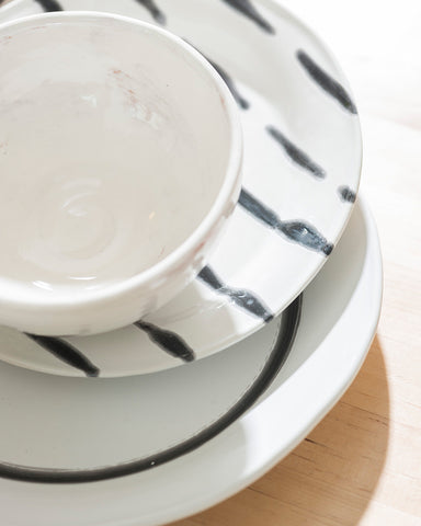 Brut Graphic Hand-Painted Dinner Plate-lifestyle-close up