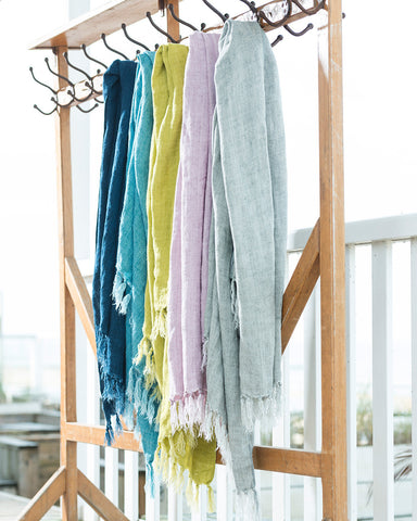 Caravanserail Fringed Coloured Linen Throw-lifestyle