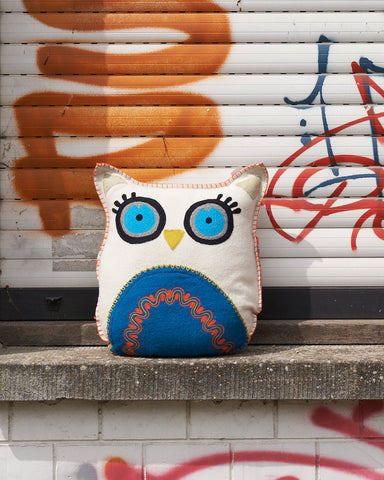 Uba Blue Felt Owl Cushion