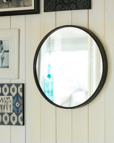 Boudoir Wall Mirror - Black Round Metal Frame Dia:25cm-lifestyle-close up