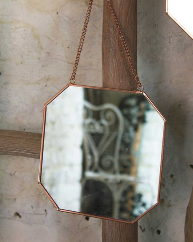 Copper Framed Mirror on Chain - Octagon Shaped W:19cm-lifestyle2