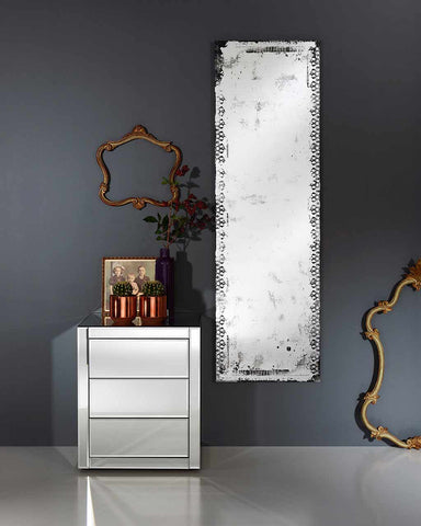 Large Full Length Wall Mirror - Distressed Glass Finish H:153cm-lifestyle