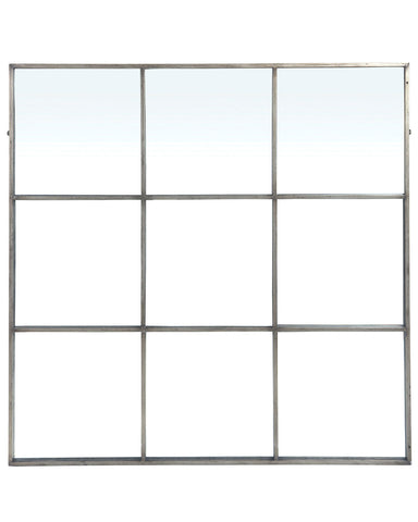 Large Window Frame Mirror - Antique Silver Frame W:118cm