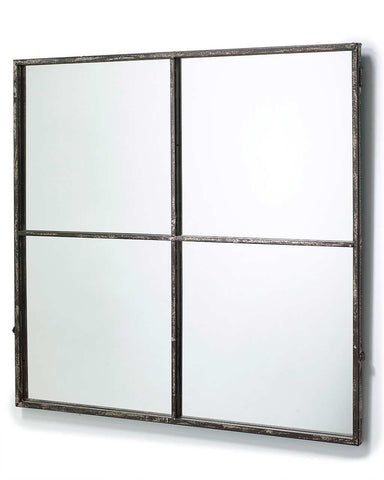 Large Window Frame Mirror - Distressed Black Frame H:80cm-side view