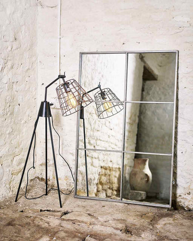 Large Window Frame Mirror - Antique Silver Frame H:118cm-lifestyle