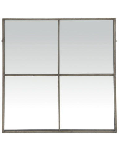 Large Window Frame Mirror - Antique Silver Frame H:80cm