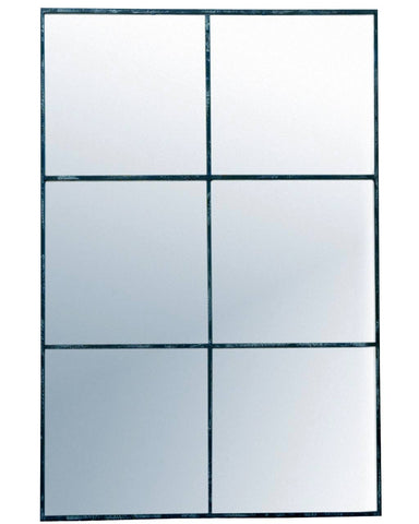Large Window Frame Mirror - Distressed Black Frame H:118cm