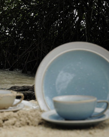 Dune Glazed Earthenware Coffee Cup & Saucer-lifestyle