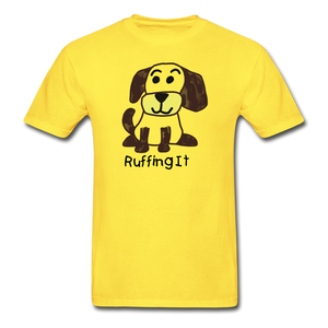 Happy Puppy Adult Tagless T-Shirt - yellow