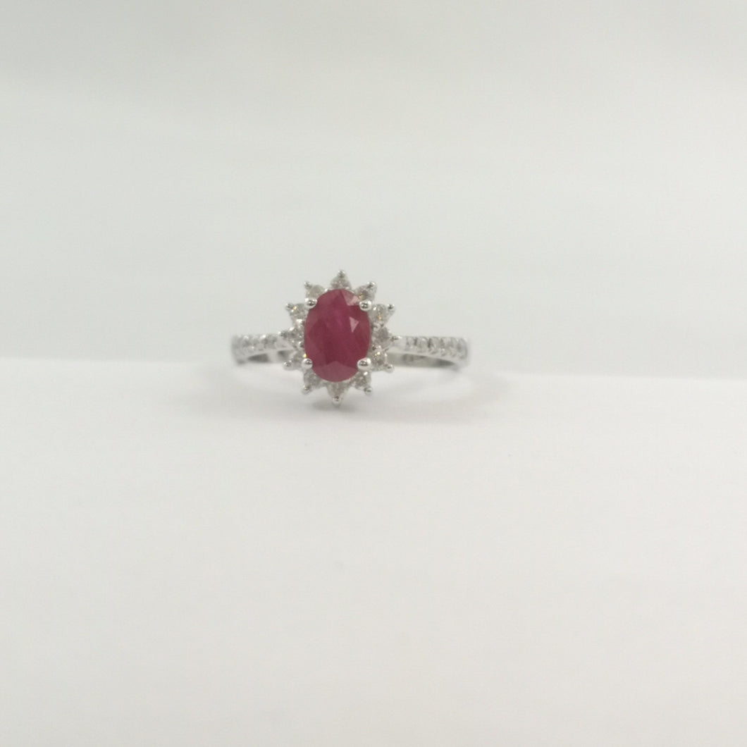 18 Karat White Gold Band with 0.81 carat Ruby and 0.32 carat Diamonds