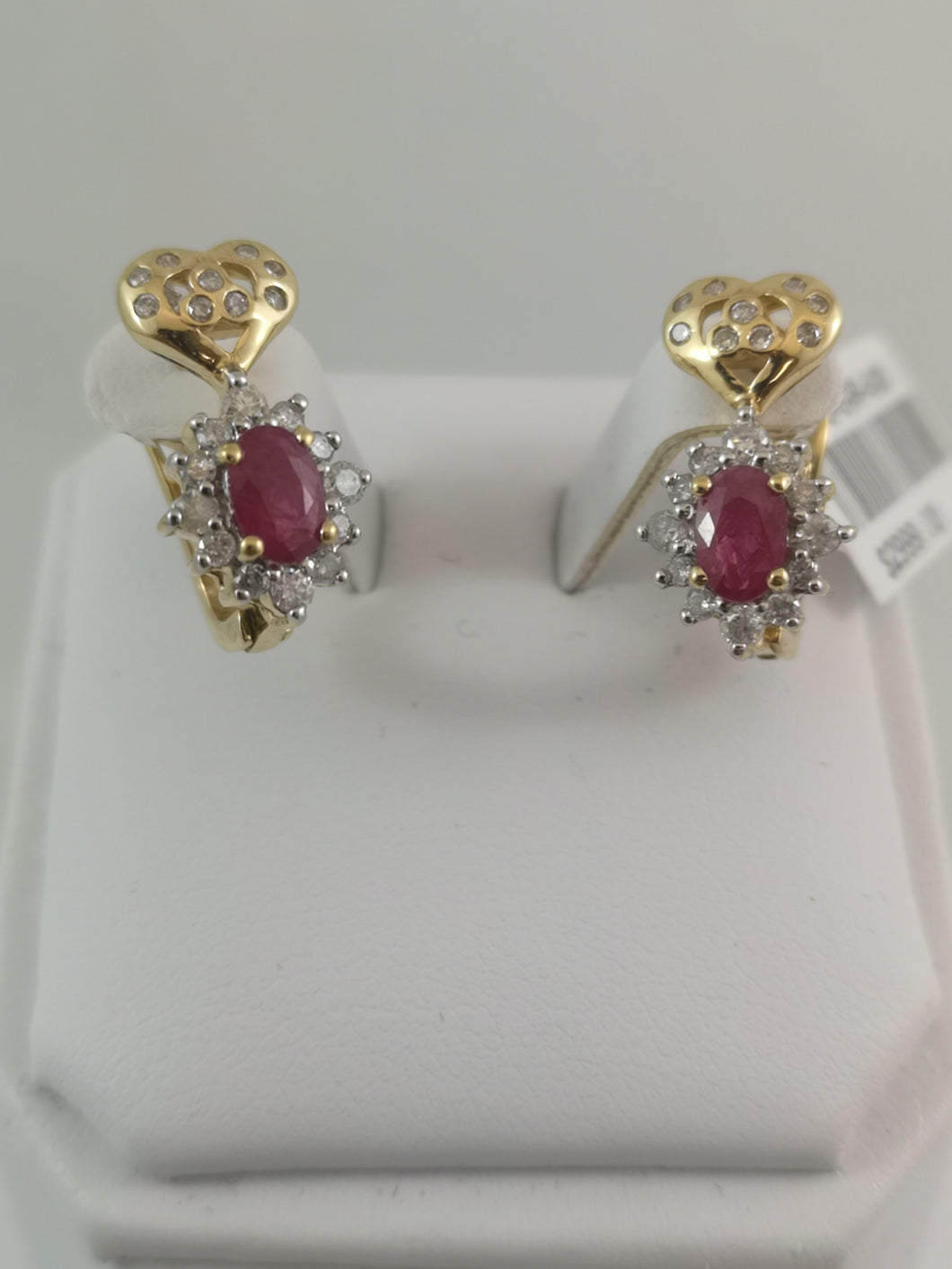 14 Kt Yellow Gold Genuine Ruby and Diamond Earrings
