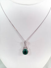 Load image into Gallery viewer, Tear Drop Jade pendent CZ in 925 Sterling Silver