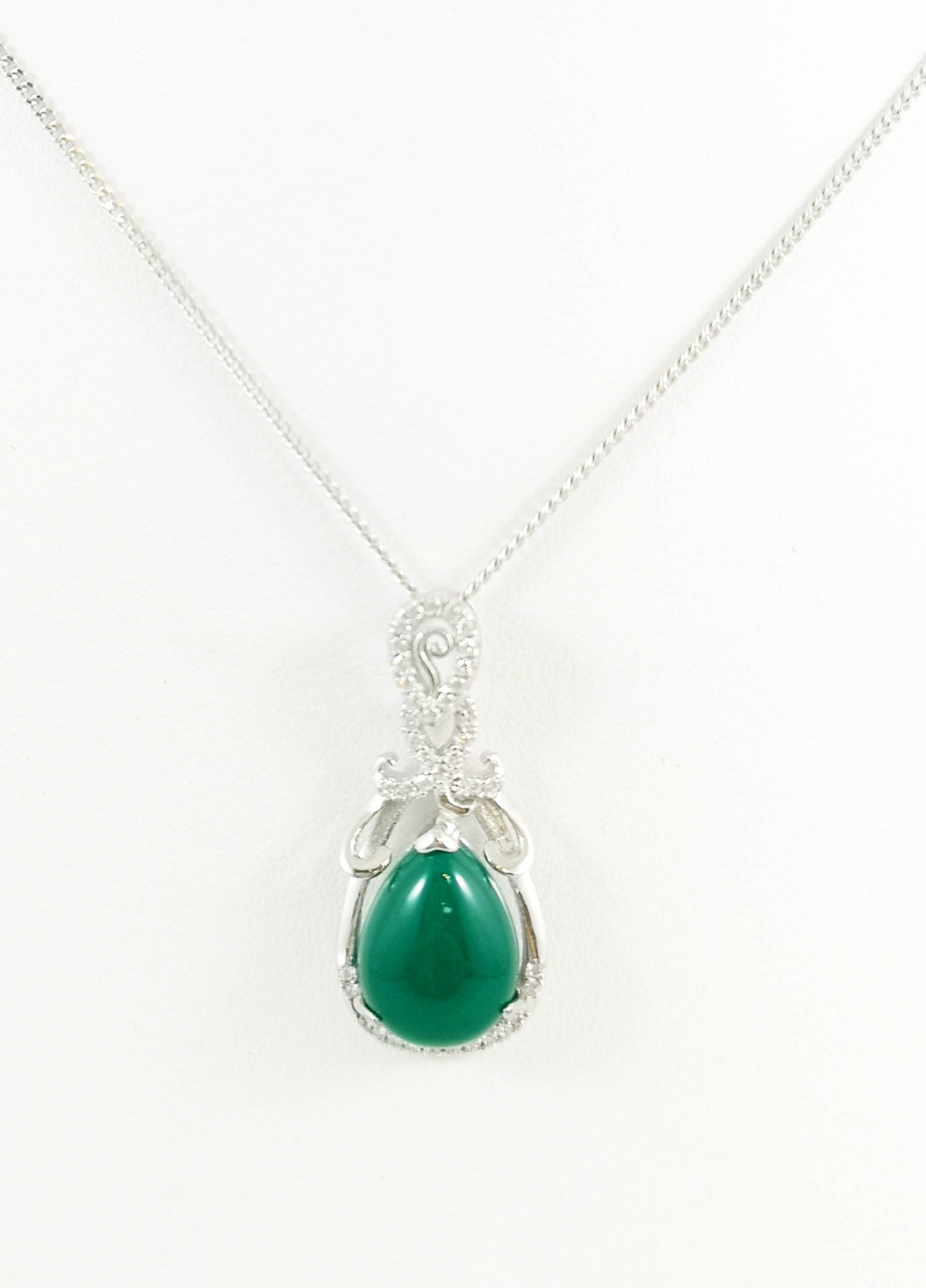Tear Drop Jade pendent CZ in 925 Sterling Silver