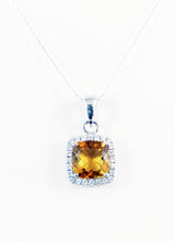 Load image into Gallery viewer, 14kt White Gold Diamond and Genuine Citrine pendent