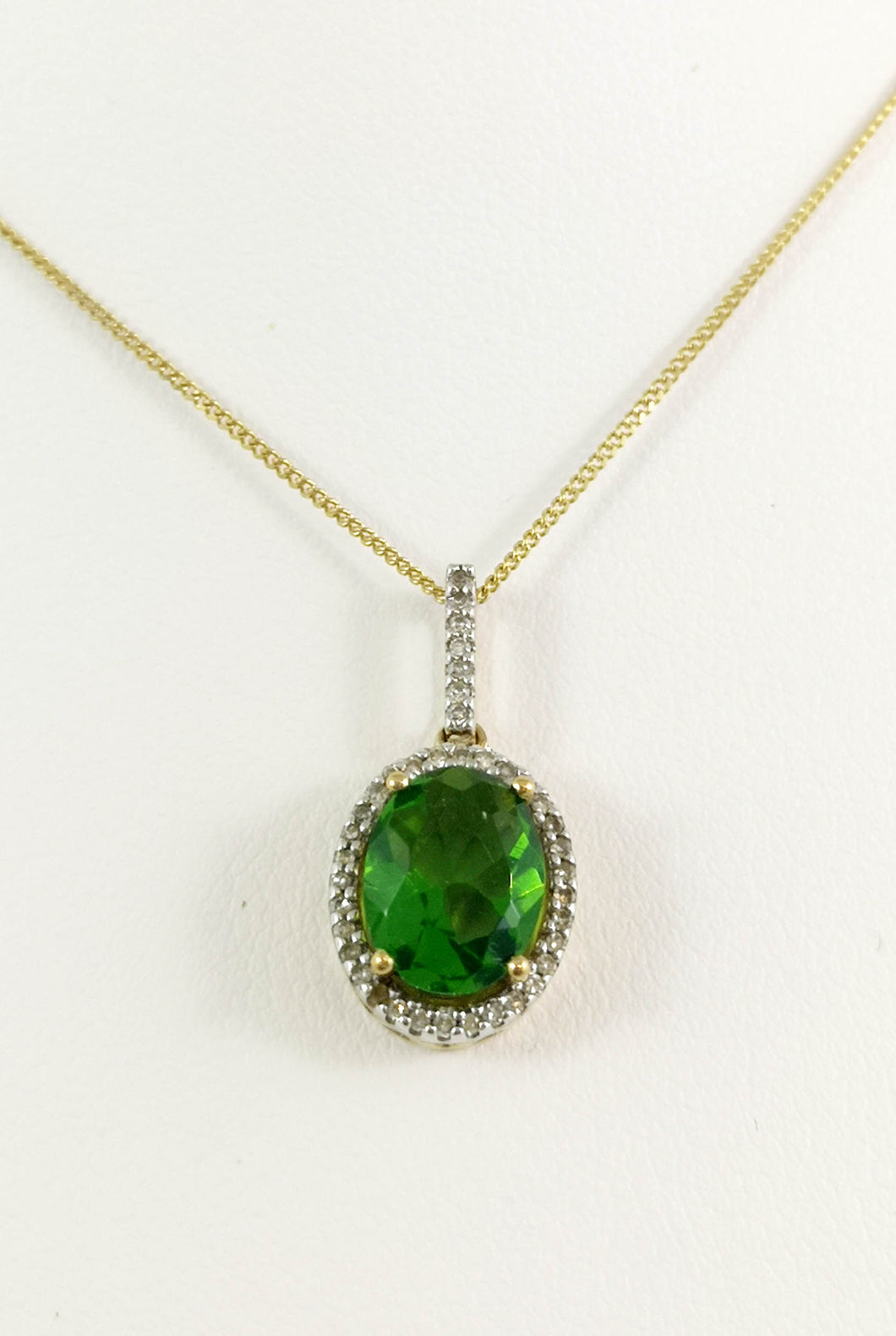 14kt Yellow Gold Genuine Green oval Diopside pendent with Cubic Zirconia Halo