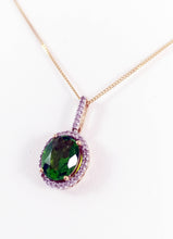 Load image into Gallery viewer, 14kt Yellow Gold Genuine Green oval Diopside pendent with Cubic Zirconia Halo