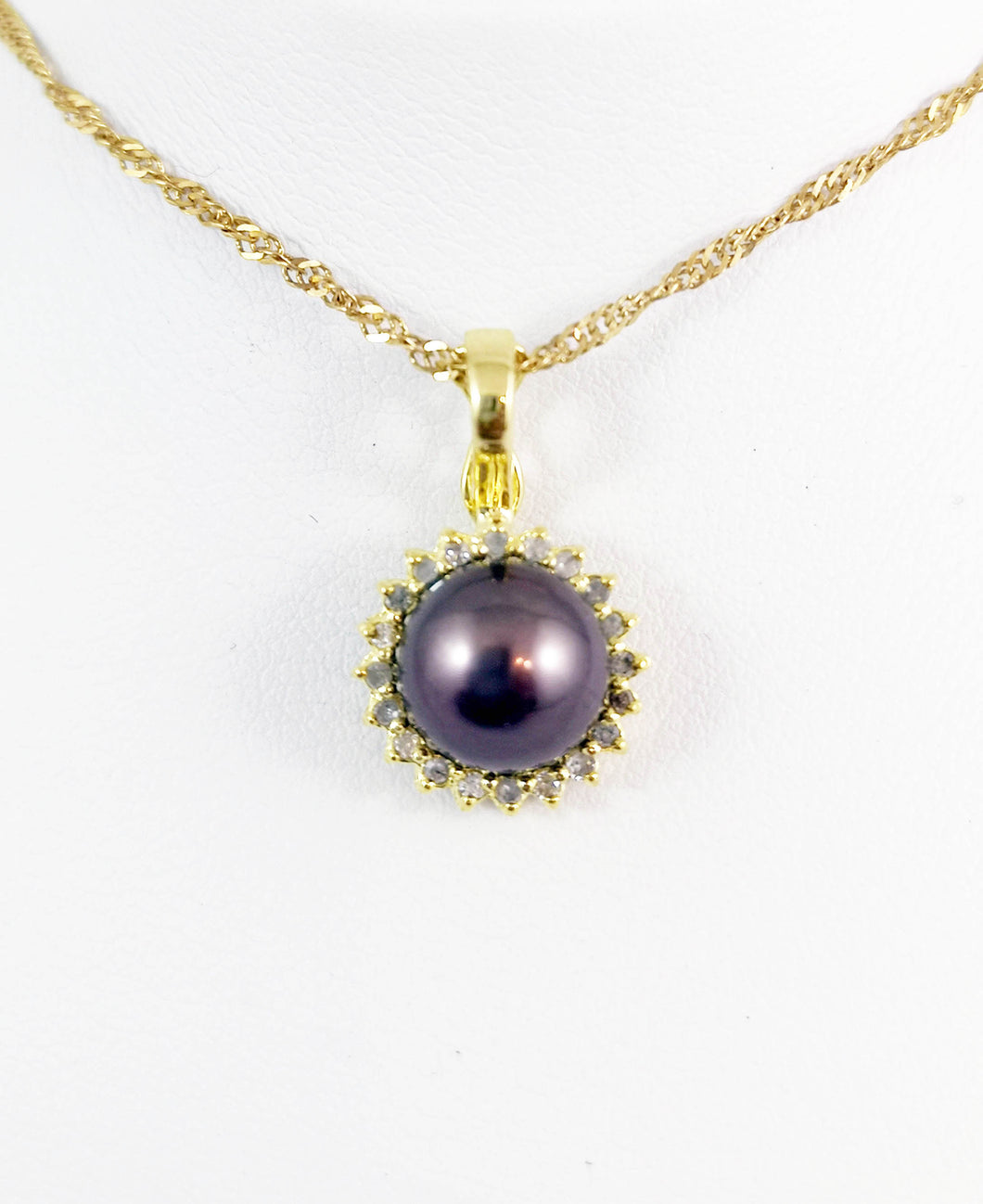 14 Kt Yellow Gold Fresh Water Pearl with Diamond Halo