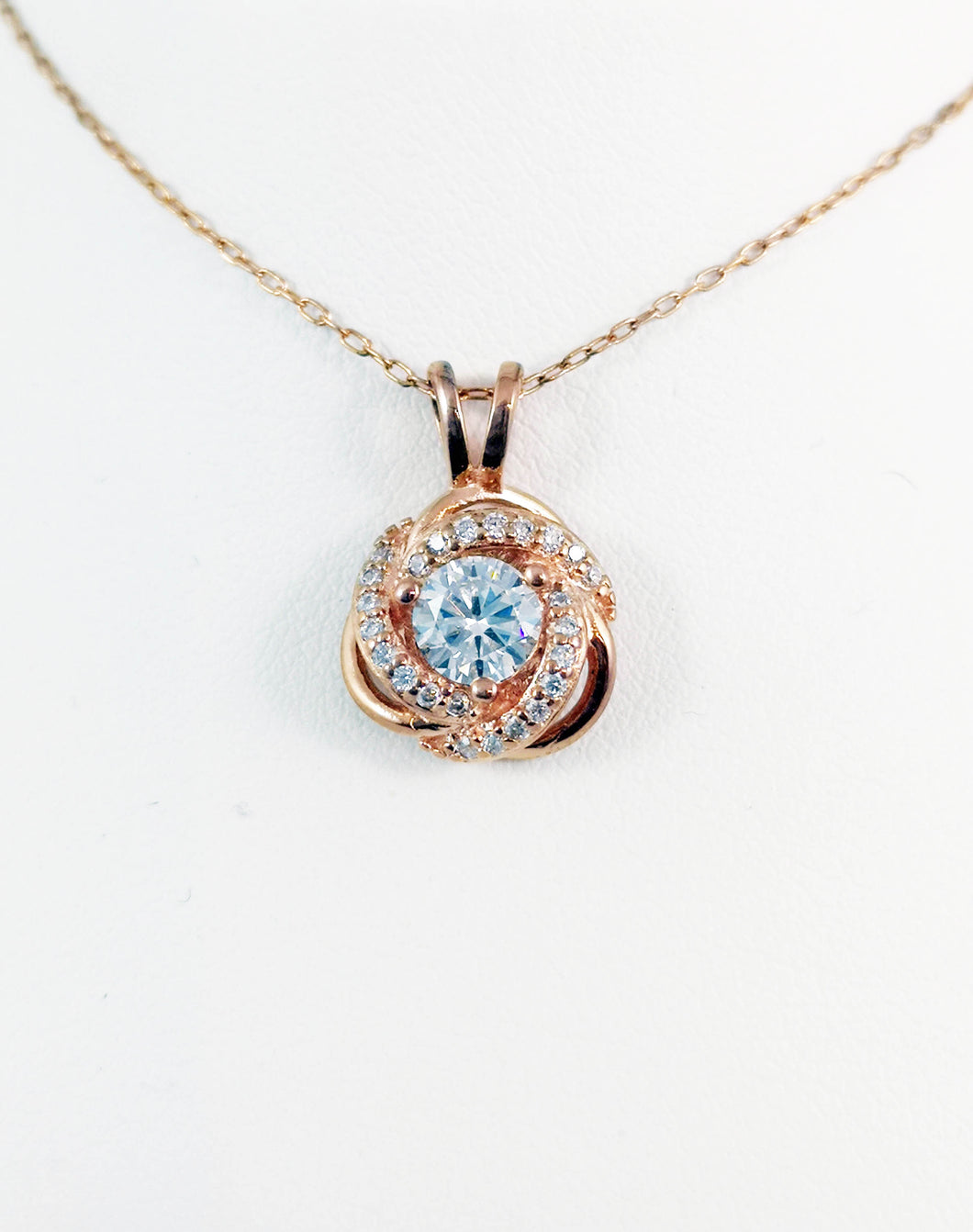925 Silver Rose Gold, Rose pendent +Chain