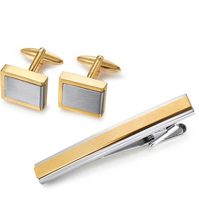 Stainless Steel Cuff Links and Tie Bar - Yellow Contrast