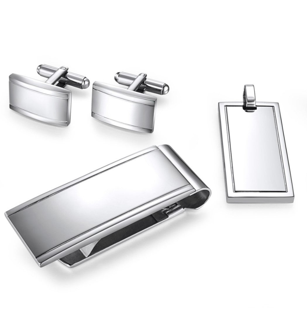 Stainless steel Cuff Link, Money Clip, and Dog Tag