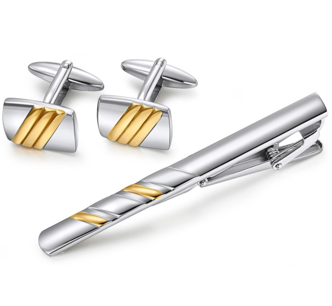 Stainless Steel Cuff Link and Tie Bars - Yellow plated Stripes