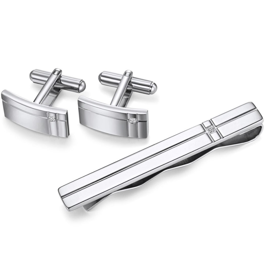 Stainless Steel Cuff Link and Tie Bar - Rectangular Lined