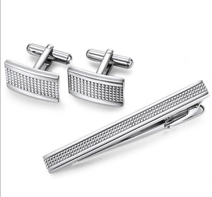 Stainless Steel Engraved Checkered Cuff Link and Tie Bar
