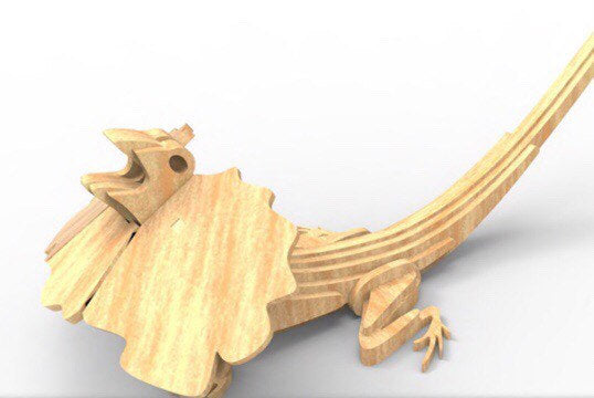 Frilled Neck Lizard Australian Animal Series 3D Wooden Toy Puzzle