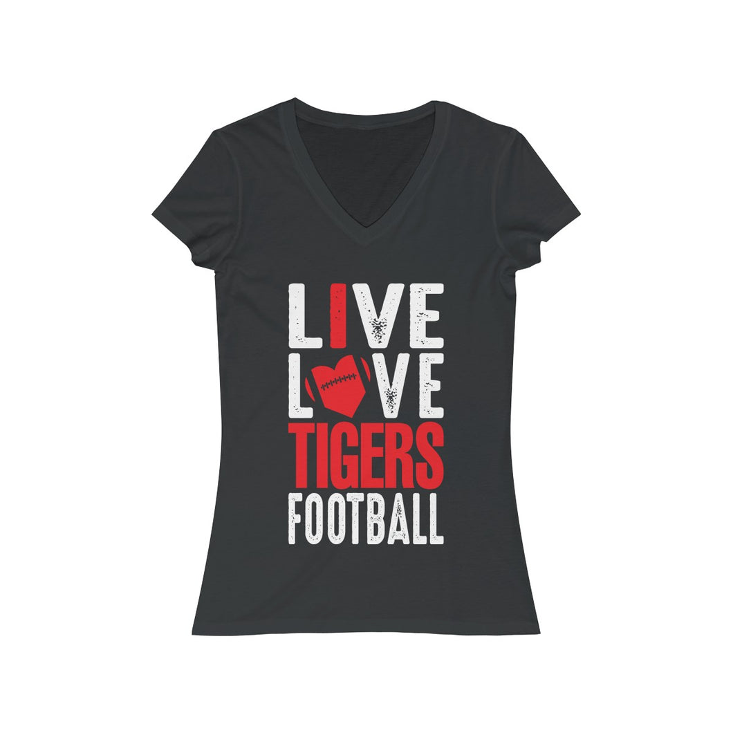 I Love Tigers Football - Ladies Jersey Short Sleeve V-Neck Tee