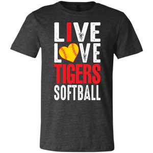 I Live Love Tigers Softball Youth Jersey Short Sleeve T-Shirt
