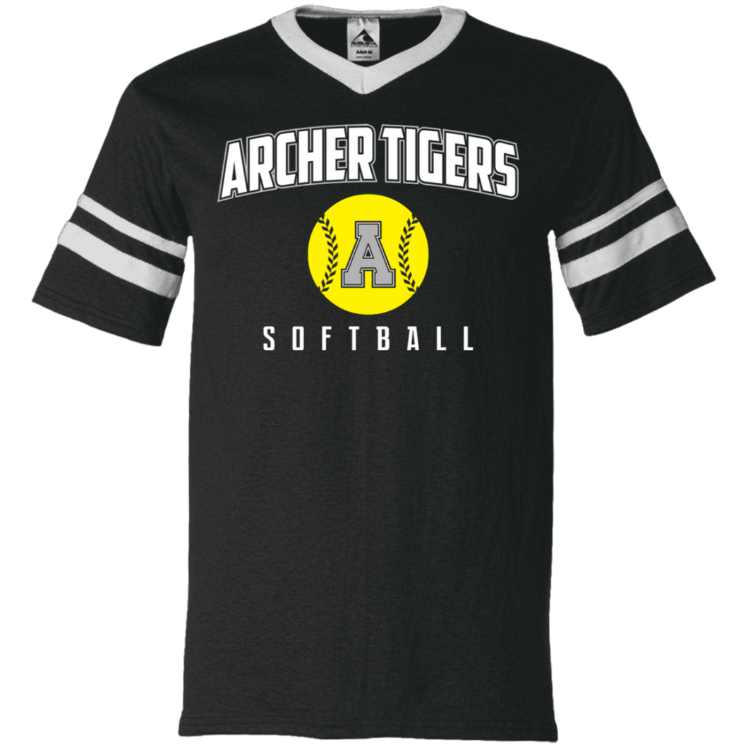 Archer Softball Logo V-Neck Sleeve Stripe Jersey