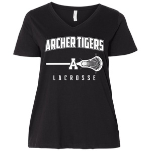Archer Lacrosse Logo  Ladies' Curvy V-Neck T-Shirt