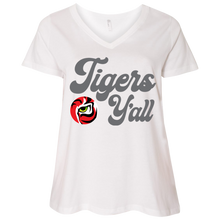 Load image into Gallery viewer, Tigers Y'all  Ladies' Curvy V-Neck T-Shirt