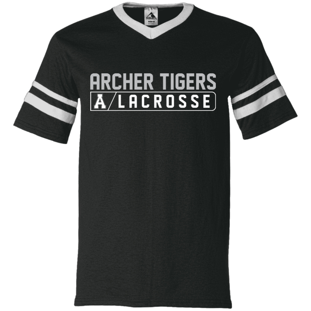 Archer LaCrosse Bar Logo V-Neck Sleeve Stripe Jersey