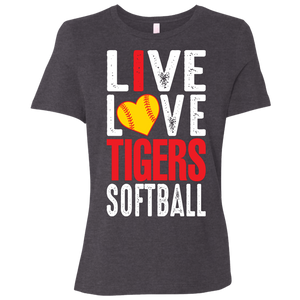 I Live Love Tigers Softball Ladies' Relaxed Jersey Short-Sleeve T-Shirt
