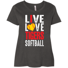 Load image into Gallery viewer, Live Love Tigers Softball Ladies' Curvy T-Shirt