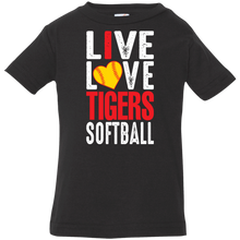 Load image into Gallery viewer, I Live Love Tigers Softball Infant Jersey T-Shirt