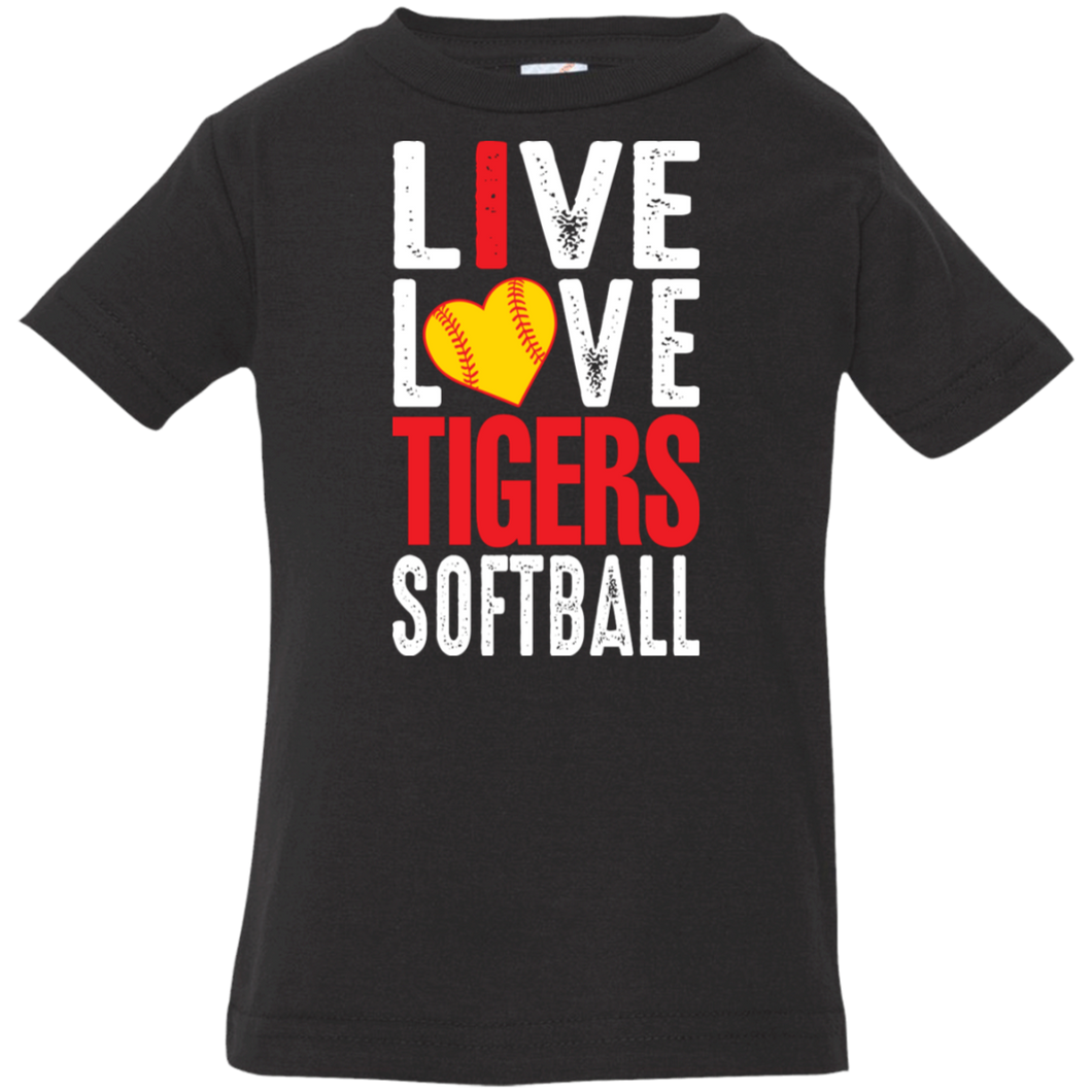 I Live Love Tigers Softball Infant Jersey T-Shirt