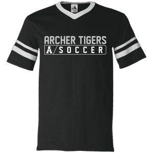 Archer Tigers Soccer Bar Logo V-Neck Sleeve Stripe Jersey