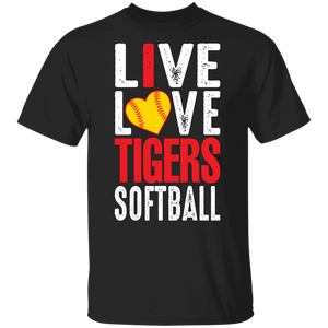 I Live Love Tigers Softball Youth Special SS Tee