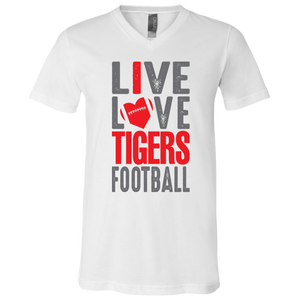 Live Love Tigers Football Jersey SS V-Neck T-Shirt