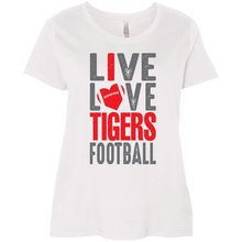 Load image into Gallery viewer, Live Love Tigers Football Ladies' Curvy T-Shirt