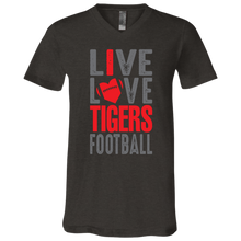 Load image into Gallery viewer, Live Love Tigers Football Jersey SS V-Neck T-Shirt