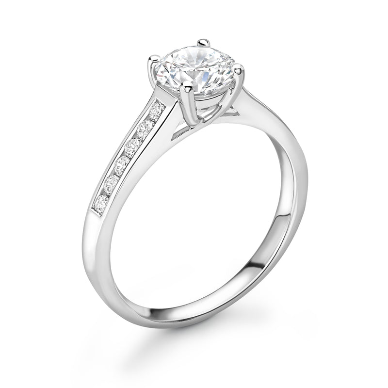 Lucy - Solitaire Round Brilliant, Shoulder Set Ring