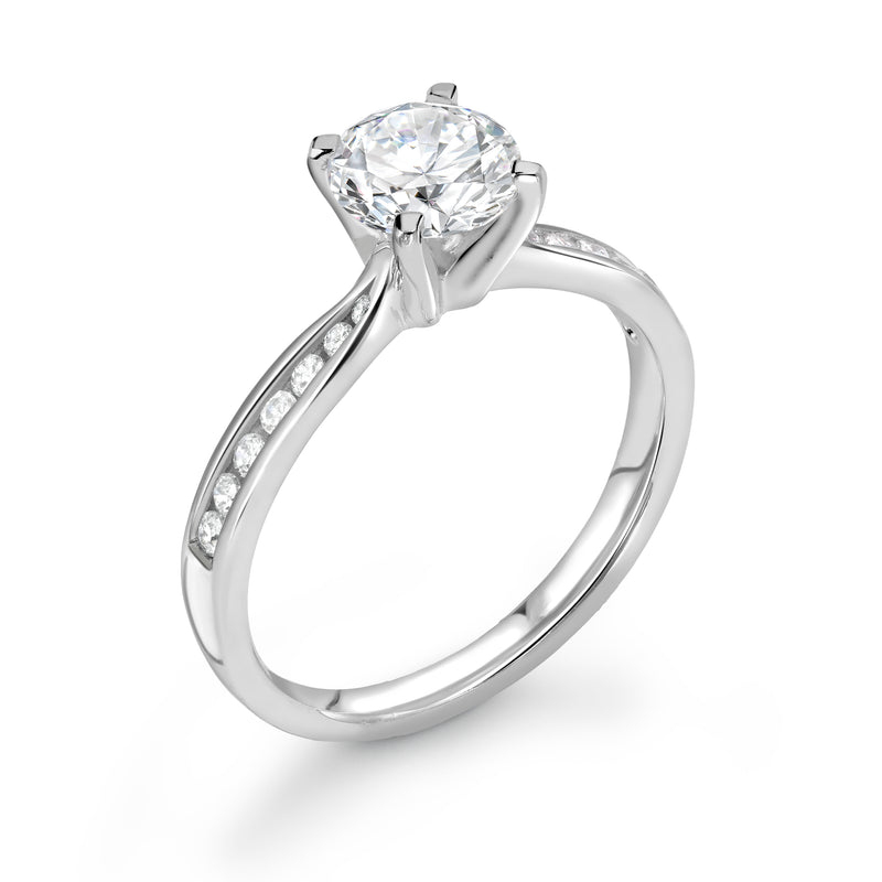 Lillian - Solitaire Round Brilliant, Shoulder Set Ring
