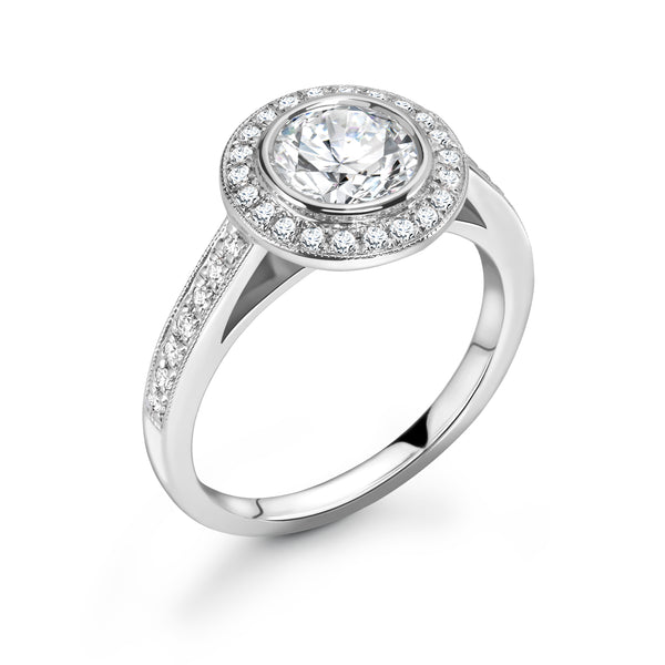 Sarah - Round Brilliant Halo, Shoulder Set Ring
