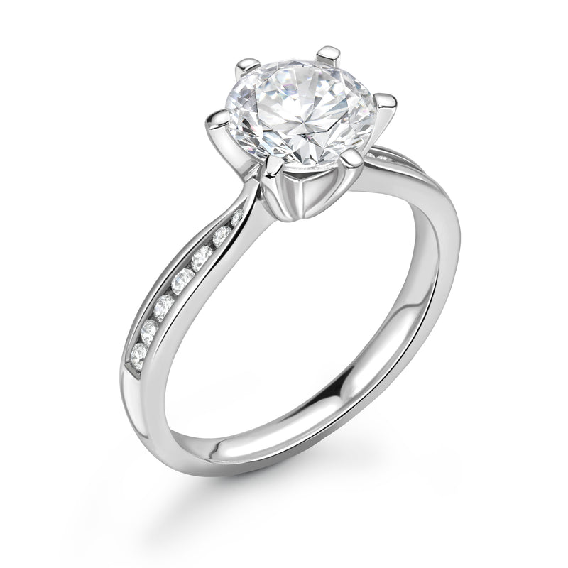 Zoe - Solitaire Round Brilliant, Shoulder Set Ring