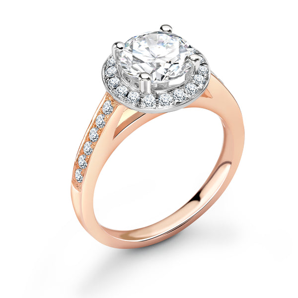 Serenity - Round Brilliant Halo, Shoulder Set Ring