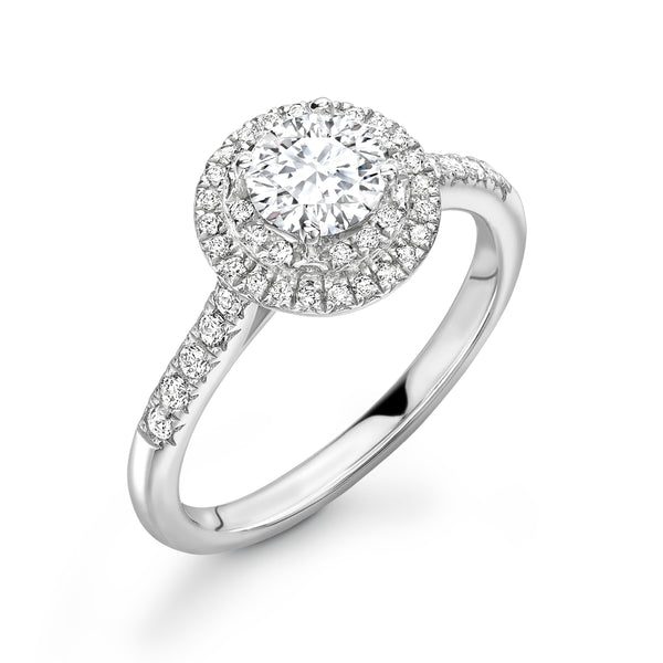Gianna - Round Brilliant Halo, Shoulder Set Ring